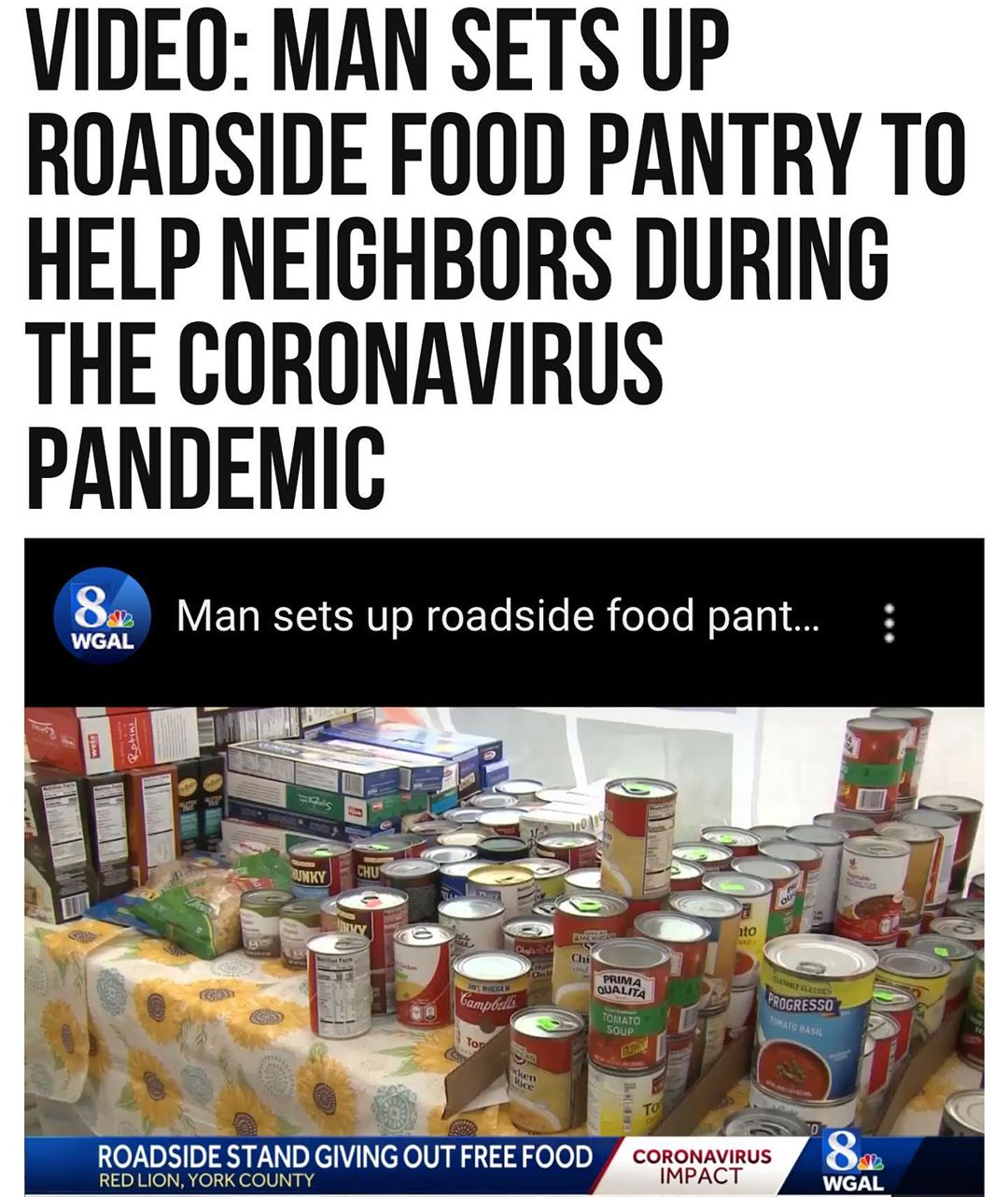 A man in #RedLion, #Pennsylvania, is making sure his neighbors do not go hungry …